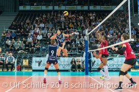 Sabel Moffett (Volley Duedingen #17) 2-429 TS Volley DUEDINGEN vs Fatum NYIREGYHAZA (CEV Cup 1/16th final) on November 28, 2018 at Salle St Leonard in FRIBOURG (Switzerland).
