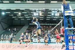 Danielle Harbin (Volley Duedingen #3) 2-429 TS Volley DUEDINGEN vs Fatum NYIREGYHAZA (CEV Cup 1/16th final) on November 28, 2018 at Salle St Leonard in FRIBOURG (Switzerland).