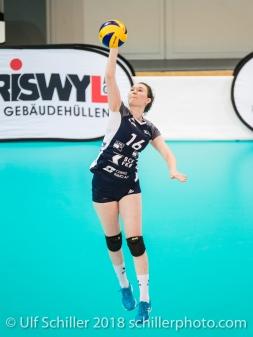 Zoe Kressler (Volley Duedingen #16) 2-429 TS Volley DUEDINGEN vs Fatum NYIREGYHAZA (CEV Cup 1/16th final) on November 28, 2018 at Salle St Leonard in FRIBOURG (Switzerland).