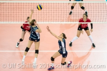 Kristel Marbach (Volley Duedingen #9) and Kerley Becker (Volley Duedingen #2) 2-429 TS Volley DUEDINGEN vs Fatum NYIREGYHAZA (CEV Cup 1/16th final) on November 28, 2018 at Salle St Leonard in FRIBOURG (Switzerland).