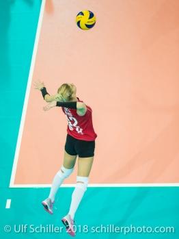 MATIC Tatjana (Fatum NYIREGYHAZA, #12) 2-429 TS Volley DUEDINGEN vs Fatum NYIREGYHAZA (CEV Cup 1/16th final) on November 28, 2018 at Salle St Leonard in FRIBOURG (Switzerland).