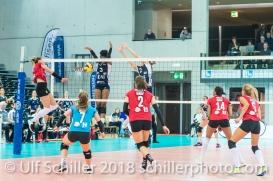 Block by Danielle Harbin (Volley Duedingen #3) 2-429 TS Volley DUEDINGEN vs Fatum NYIREGYHAZA (CEV Cup 1/16th final) on November 28, 2018 at Salle St Leonard in FRIBOURG (Switzerland).