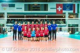 Team picture Fatum NYIREGYHAZA 2-429 TS Volley DUEDINGEN vs Fatum NYIREGYHAZA (CEV Cup 1/16th final) on November 28, 2018 at Salle St Leonard in FRIBOURG (Switzerland).