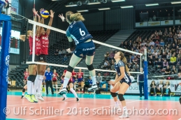 Brianna Beamish (Volley Duedingen #6) 2-429 TS Volley DUEDINGEN vs Fatum NYIREGYHAZA (CEV Cup 1/16th final) on November 28, 2018 at Salle St Leonard in FRIBOURG (Switzerland).