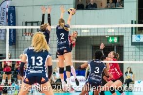 MEDIC Olivera (Fatum NYIREGYHAZA, #9) blocked by Kerley Becker (Volley Duedingen #2) 2-429 TS Volley DUEDINGEN vs Fatum NYIREGYHAZA (CEV Cup 1/16th final) on November 28, 2018 at Salle St Leonard in FRIBOURG (Switzerland).