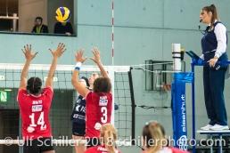 Francine Marx (Volley Duedingen #7) blocked by WHITE Jazmine (Fatum NYIREGYHAZA, #14) and VARGA Elizabet Lenke (Fatum NYIREGYHAZA, #3) 2-429 TS Volley DUEDINGEN vs Fatum NYIREGYHAZA (CEV Cup 1/16th final) on November 28, 2018 at Salle St Leonard in FRIBOURG (Switzerland).