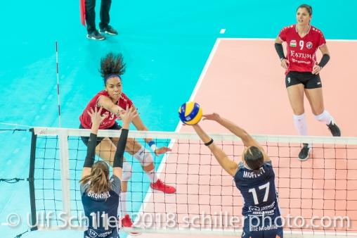 VARGA Elizabet Lenke (Fatum NYIREGYHAZA, #3) 2-429 TS Volley DUEDINGEN vs Fatum NYIREGYHAZA (CEV Cup 1/16th final) on November 28, 2018 at Salle St Leonard in FRIBOURG (Switzerland).