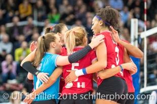 point for Fatum NYIREGYHAZA 2-429 TS Volley DUEDINGEN vs Fatum NYIREGYHAZA (CEV Cup 1/16th final) on November 28, 2018 at Salle St Leonard in FRIBOURG (Switzerland).