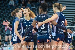 Point for Volley Duedingen 2-429 TS Volley DUEDINGEN vs Fatum NYIREGYHAZA (CEV Cup 1/16th final) on November 28, 2018 at Salle St Leonard in FRIBOURG (Switzerland).