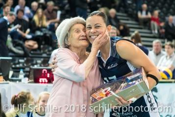 Sabel Moffett (Volley Duedingen #17) gets MVP award 2-429 TS Volley DUEDINGEN vs Fatum NYIREGYHAZA (CEV Cup 1/16th final) on November 28, 2018 at Salle St Leonard in FRIBOURG (Switzerland).