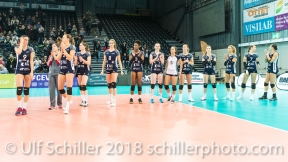 Disappointed team of Volley Duedingen 2-429 TS Volley DUEDINGEN vs Fatum NYIREGYHAZA (CEV Cup 1/16th final) on November 28, 2018 at Salle St Leonard in FRIBOURG (Switzerland).