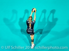 Kerley Becker during the European Cup match TS Volley DUEDINGEN vs Fatum NYIREGYHAZA (CEV Cup 1/16th final) on November 28, 2018 at Salle St Leonard in FRIBOURG (Switzerland).
