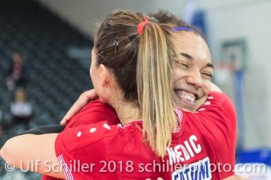 Match point for Fatum NYIREGYHAZA 2-429 TS Volley DUEDINGEN vs Fatum NYIREGYHAZA (CEV Cup 1/16th final) on November 28, 2018 at Salle St Leonard in FRIBOURG (Switzerland).
