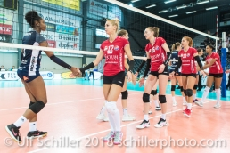 Shake hands after match with captain MATIC Tatjana (Fatum NYIREGYHAZA, #12) and Danielle Harbin (Volley Duedingen #3) 2-429 TS Volley DUEDINGEN vs Fatum NYIREGYHAZA (CEV Cup 1/16th final) on November 28, 2018 at Salle St Leonard in FRIBOURG (Switzerland).
