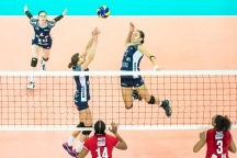 Kristel Marbach (Volley Duedingen #9) and Sabel Moffett (Volley Duedingen #17) 2-429 TS Volley DUEDINGEN vs Fatum NYIREGYHAZA (CEV Cup 1/16th final) on November 28, 2018 at Salle St Leonard in FRIBOURG (Switzerland).