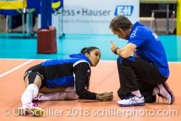 Andreas Vollmer (Headcoach Sm'Aesch Pfeffingen) giving instructions to Jessica Ventura (Sm'Aesch Pfeffingen #10) before the match Volleyball CEV Cup 2018-19 SmAESCH PFEFFINGEN (SUI) vs VC OUDEGEM (BEL) on December 5, 2018 at St Jakobs Halle in Basel (Switzerland).