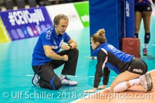 Andreas Vollmer (Headcoach Sm'Aesch Pfeffingen) giving instructions to Kristen Tupac (Sm'Aesch Pfeffingen #1) before the match Volleyball CEV Cup 2018-19 SmAESCH PFEFFINGEN (SUI) vs VC OUDEGEM (BEL) on December 5, 2018 at St Jakobs Halle in Basel (Switzerland).