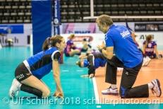 Andreas Vollmer (Headcoach Sm'Aesch Pfeffingen) giving instructions to Madlaina Matter (Sm'Aesch Pfeffingen #6) before the match Volleyball CEV Cup 2018-19 SmAESCH PFEFFINGEN (SUI) vs VC OUDEGEM (BEL) on December 5, 2018 at St Jakobs Halle in Basel (Switzerland).