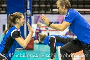 Andreas Vollmer (Headcoach Sm'Aesch Pfeffingen) and Madlaina Matter (Sm'Aesch Pfeffingen #6) before the match Volleyball CEV Cup 2018-19 SmAESCH PFEFFINGEN (SUI) vs VC OUDEGEM (BEL) on December 5, 2018 at St Jakobs Halle in Basel (Switzerland).