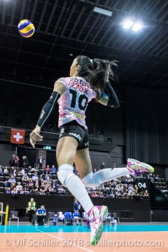 Jessica Ventura (Sm'Aesch Pfeffingen #10) Volleyball CEV Cup 2018-19 SmAESCH PFEFFINGEN (SUI) vs VC OUDEGEM (BEL) on December 5, 2018 at St Jakobs Halle in Basel (Switzerland).