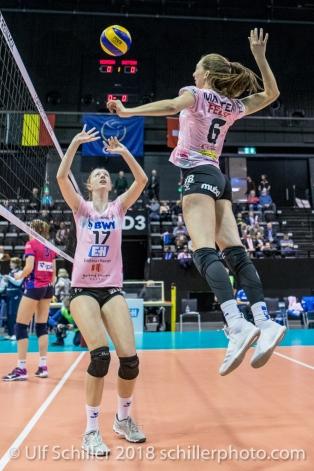 Annalea Maeder (Sm'Aesch Pfeffingen #17) and Madlaina Matter (Sm'Aesch Pfeffingen #6) during the warm up Volleyball CEV Cup 2018-19 SmAESCH PFEFFINGEN (SUI) vs VC OUDEGEM (BEL) on December 5, 2018 at St Jakobs Halle in Basel (Switzerland).
