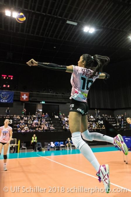 Jessica Ventura (Sm'Aesch Pfeffingen #10) during the warm up Volleyball CEV Cup 2018-19 SmAESCH PFEFFINGEN (SUI) vs VC OUDEGEM (BEL) on December 5, 2018 at St Jakobs Halle in Basel (Switzerland).