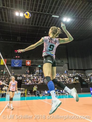 Dora Grozer (Sm'Aesch Pfeffingen #9) during the warm up Volleyball CEV Cup 2018-19 SmAESCH PFEFFINGEN (SUI) vs VC OUDEGEM (BEL) on December 5, 2018 at St Jakobs Halle in Basel (Switzerland).
