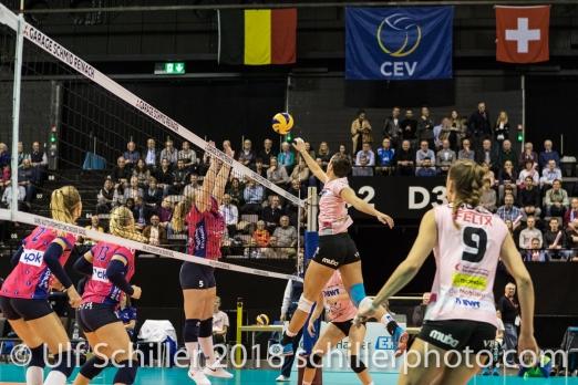 Gabi Schottroff (Sm'Aesch Pfeffingen #4) Volleyball CEV Cup 2018-19 SmAESCH PFEFFINGEN (SUI) vs VC OUDEGEM (BEL) on December 5, 2018 at St Jakobs Halle in Basel (Switzerland).