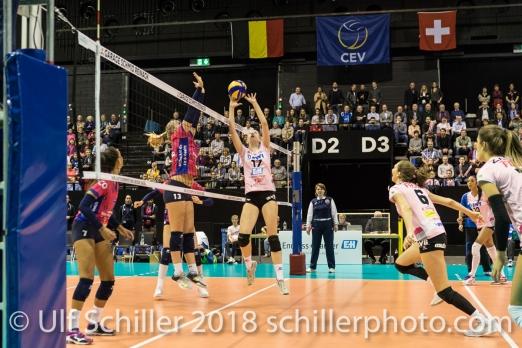 Annalea Maeder (Sm'Aesch Pfeffingen #17) and Madlaina Matter (Sm'Aesch Pfeffingen #6) Volleyball CEV Cup 2018-19 SmAESCH PFEFFINGEN (SUI) vs VC OUDEGEM (BEL) on December 5, 2018 at St Jakobs Halle in Basel (Switzerland).
