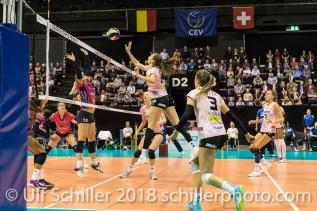 Madlaina Matter (Sm'Aesch Pfeffingen #6) Volleyball CEV Cup 2018-19 SmAESCH PFEFFINGEN (SUI) vs VC OUDEGEM (BEL) on December 5, 2018 at St Jakobs Halle in Basel (Switzerland).