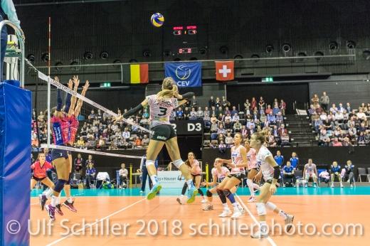 Livia Zaugg (Sm'Aesch Pfeffingen #3) Volleyball CEV Cup 2018-19 SmAESCH PFEFFINGEN (SUI) vs VC OUDEGEM (BEL) on December 5, 2018 at St Jakobs Halle in Basel (Switzerland).