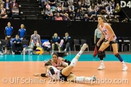 Kristen Tupac (Sm'Aesch Pfeffingen #1) and Jessica Ventura (Sm'Aesch Pfeffingen #10) Volleyball CEV Cup 2018-19 SmAESCH PFEFFINGEN (SUI) vs VC OUDEGEM (BEL) on December 5, 2018 at St Jakobs Halle in Basel (Switzerland).