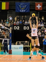 Annalea Maeder (Sm'Aesch Pfeffingen #17) Volleyball CEV Cup 2018-19 SmAESCH PFEFFINGEN (SUI) vs VC OUDEGEM (BEL) on December 5, 2018 at St Jakobs Halle in Basel (Switzerland).