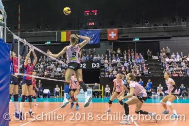 Dora Grozer (Sm'Aesch Pfeffingen #9) Volleyball CEV Cup 2018-19 SmAESCH PFEFFINGEN (SUI) vs VC OUDEGEM (BEL) on December 5, 2018 at St Jakobs Halle in Basel (Switzerland).