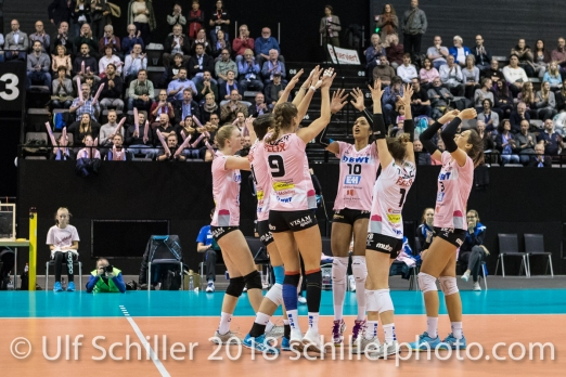 Successful block by Sm'Aesch Pfeffingen Volleyball CEV Cup 2018-19 SmAESCH PFEFFINGEN (SUI) vs VC OUDEGEM (BEL) on December 5, 2018 at St Jakobs Halle in Basel (Switzerland).