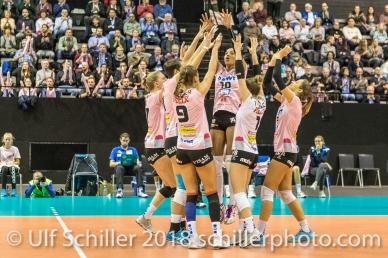 Point for Sm'Aesch Pfeffingen Volleyball CEV Cup 2018-19 SmAESCH PFEFFINGEN (SUI) vs VC OUDEGEM (BEL) on December 5, 2018 at St Jakobs Halle in Basel (Switzerland).
