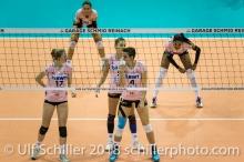 Annalea Maeder (Sm'Aesch Pfeffingen #17), Dora Grozer (Sm'Aesch Pfeffingen #9), Gabi Schottroff (Sm'Aesch Pfeffingen #4) waiting for the serve. Volleyball CEV Cup 2018-19 SmAESCH PFEFFINGEN (SUI) vs VC OUDEGEM (BEL) on December 5, 2018 at St Jakobs Halle in Basel (Switzerland).
