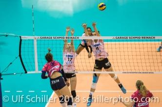 Annalea Maeder (Sm'Aesch Pfeffingen #17) and Gabi Schottroff (Sm'Aesch Pfeffingen #4) blocking VANASSCHE Felice (VC Oudegem, #6) Volleyball CEV Cup 2018-19 SmAESCH PFEFFINGEN (SUI) vs VC OUDEGEM (BEL) on December 5, 2018 at St Jakobs Halle in Basel (Switzerland).
