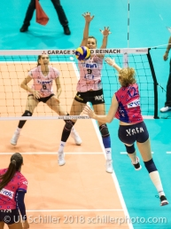 Dora Grozer (Sm'Aesch Pfeffingen #9) blocking a spike by KINDT Bieke (VC Oudegem, #12) Volleyball CEV Cup 2018-19 SmAESCH PFEFFINGEN (SUI) vs VC OUDEGEM (BEL) on December 5, 2018 at St Jakobs Halle in Basel (Switzerland).