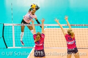 Spike by Jessica Ventura (Sm'Aesch Pfeffingen #10) Volleyball CEV Cup 2018-19 SmAESCH PFEFFINGEN (SUI) vs VC OUDEGEM (BEL) on December 5, 2018 at St Jakobs Halle in Basel (Switzerland).