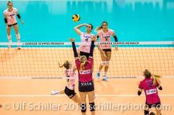Attack by Gabi Schottroff (Sm'Aesch Pfeffingen #4) Volleyball CEV Cup 2018-19 SmAESCH PFEFFINGEN (SUI) vs VC OUDEGEM (BEL) on December 5, 2018 at St Jakobs Halle in Basel (Switzerland).