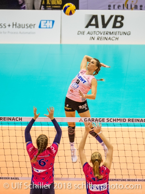 Attack by Dora Grozer (Sm'Aesch Pfeffingen #9) Volleyball CEV Cup 2018-19 SmAESCH PFEFFINGEN (SUI) vs VC OUDEGEM (BEL) on December 5, 2018 at St Jakobs Halle in Basel (Switzerland).