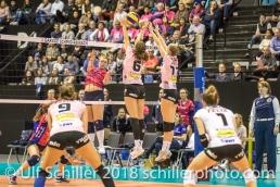 Madlaina Matter (Sm'Aesch Pfeffingen #6) and Annalea Maeder (Sm'Aesch Pfeffingen #17) blocking a shot by VANDENDRIESSCHE Lotte (VC Oudegem, #5) Volleyball CEV Cup 2018-19 SmAESCH PFEFFINGEN (SUI) vs VC OUDEGEM (BEL) on December 5, 2018 at St Jakobs Halle in Basel (Switzerland).