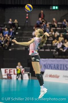 Madlaina Matter (Sm'Aesch Pfeffingen #6) serving Volleyball CEV Cup 2018-19 SmAESCH PFEFFINGEN (SUI) vs VC OUDEGEM (BEL) on December 5, 2018 at St Jakobs Halle in Basel (Switzerland).