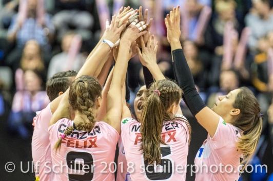 Sm'Aesch Pfeffingen players celebrating a successful block Volleyball CEV Cup 2018-19 SmAESCH PFEFFINGEN (SUI) vs VC OUDEGEM (BEL) on December 5, 2018 at St Jakobs Halle in Basel (Switzerland).