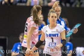 Kristen Tupac (Sm'Aesch Pfeffingen #1) gets subistuted in Volleyball CEV Cup 2018-19 SmAESCH PFEFFINGEN (SUI) vs VC OUDEGEM (BEL) on December 5, 2018 at St Jakobs Halle in Basel (Switzerland).