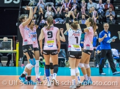 Sm'Aesch Pfeffingen celebrating a point Volleyball CEV Cup 2018-19 SmAESCH PFEFFINGEN (SUI) vs VC OUDEGEM (BEL) on December 5, 2018 at St Jakobs Halle in Basel (Switzerland).