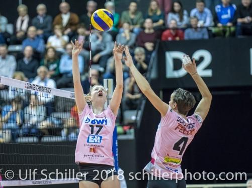 Annalea Maeder (Sm'Aesch Pfeffingen #17) and Gabi Schottroff (Sm'Aesch Pfeffingen #4) Volleyball CEV Cup 2018-19 SmAESCH PFEFFINGEN (SUI) vs VC OUDEGEM (BEL) on December 5, 2018 at St Jakobs Halle in Basel (Switzerland).