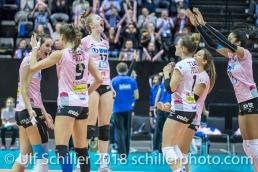 Set point for the 3-0: l2r: Gabi Schottroff (Sm'Aesch Pfeffingen #4), Dora Grozer (Sm'Aesch Pfeffingen #9), Annalea Maeder (Sm'Aesch Pfeffingen #17), Kristen Tupac (Sm'Aesch Pfeffingen #1), Livia Zaugg (Sm'Aesch Pfeffingen #3), Jessica Ventura (Sm'Aesch Pfeffingen #10) Volleyball CEV Cup 2018-19 SmAESCH PFEFFINGEN (SUI) vs VC OUDEGEM (BEL) on December 5, 2018 at St Jakobs Halle in Basel (Switzerland).
