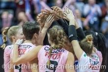 Sm'Aesch Pfeffingen after the set point for 3-0 Volleyball CEV Cup 2018-19 SmAESCH PFEFFINGEN (SUI) vs VC OUDEGEM (BEL) on December 5, 2018 at St Jakobs Halle in Basel (Switzerland).